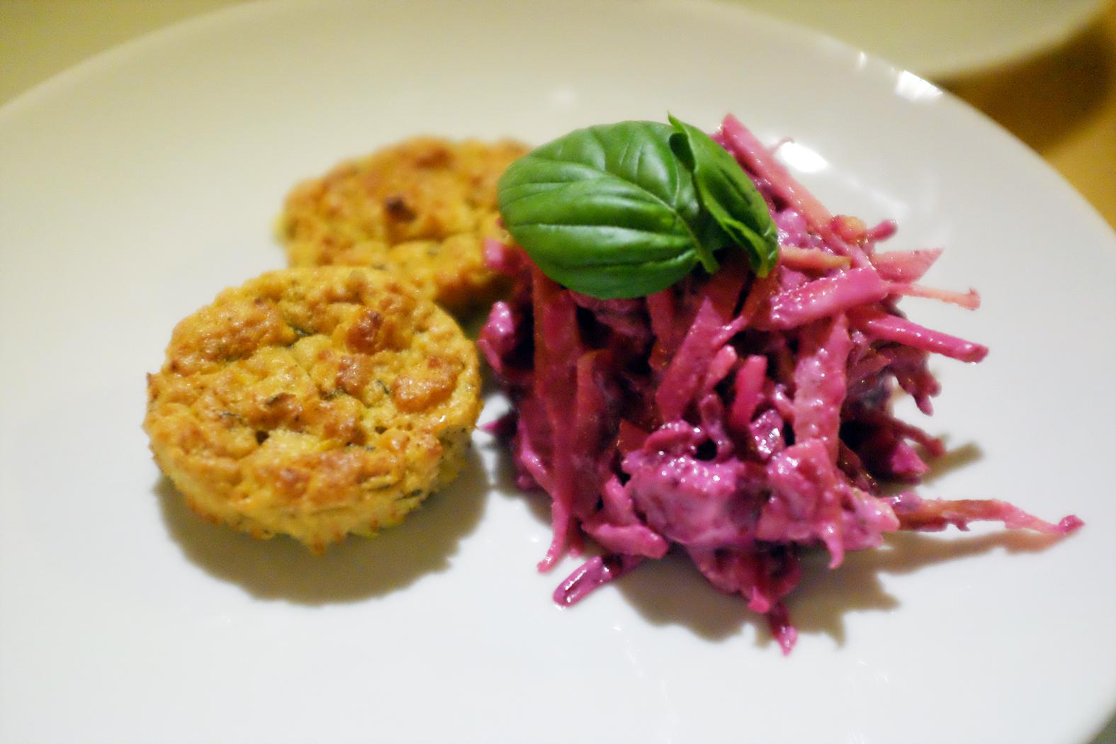 Maisküchlein, Rote-Bete-Apfel-Salat